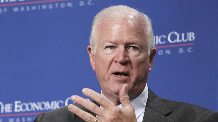 "Sen. Saxby Chambliss, R-Ga., one of the leaders of ""The Gang of Six"" participates in a discussion on the federal budget, deficit reduction and the debt ceiling during a luncheon of the Economic Club in Washington, Wednesday, June 8, 2011. (AP Photo/Alex Brandon)"