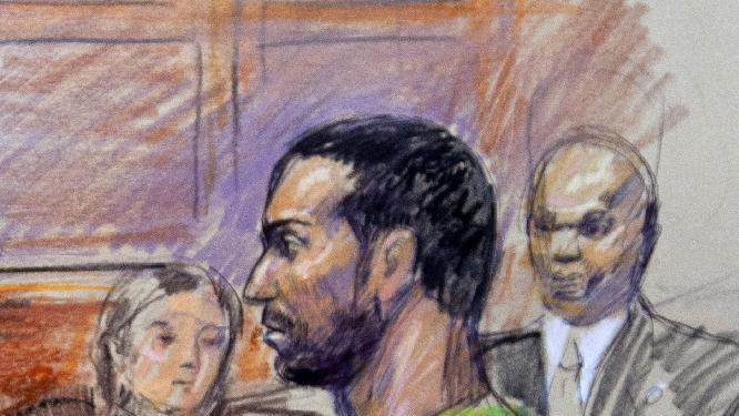 FILE- This Feb. 17, 2012 file artist rendering shows Amine El Khalifi in federal court in Alexandria, Va.    Khalifi was due in U.S. District Court in Alexandria, Va., for a plea hearing Friday.  (AP Photo/Dana Verkouteren, File)
