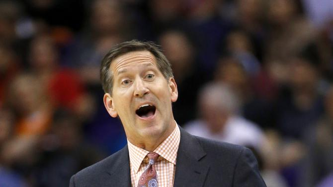 Phoenix Suns head coach Jeff Hornacek yells at an official during the first half of an NBA basketball game against the Chicago Bulls Friday, Jan. 30, 2015, in Phoenix. (AP Photo/Ross D. Franklin)