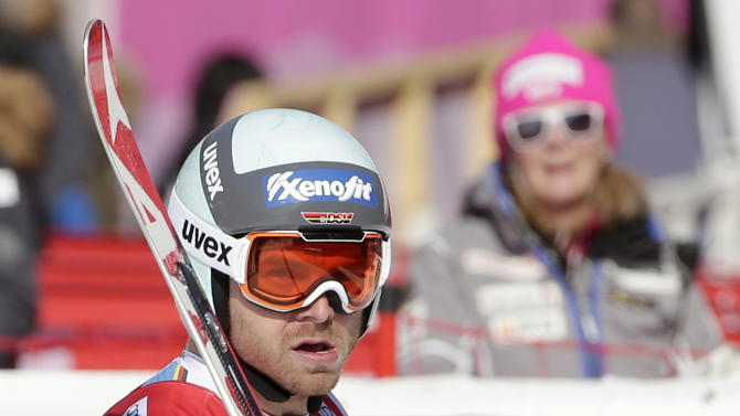 Germany's Andreas Sander reacts after crossing the finish line during a men's World Cup super-G race, also a test event for the Pyeongchang 2018 Winter Olympics, at the Jeongseon Alpine Centre in Jeongseon, South Korea, Sunday, Feb. 7, 2016. (AP Photo/Mark Schiefelbein)