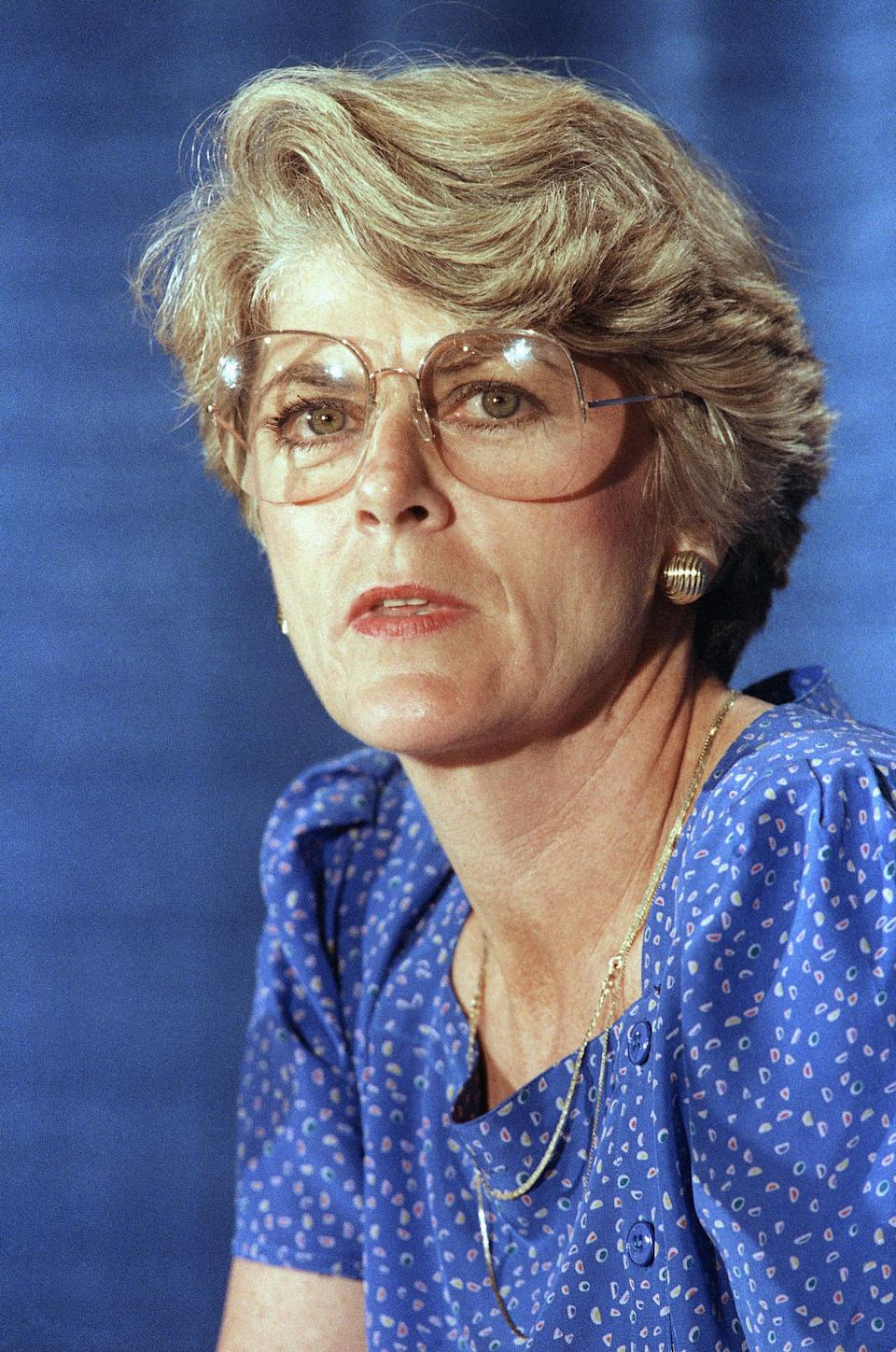 FILE - This Tuesday, Aug. 21, 1984 file picture shows Geraldine Ferraro at a news conference in New York. A spokesperson said Saturday, March 26, 2011 that Ferraro, the first woman to run for vice president, has died at 75. (AP Photo/Suzanne Vlamis, File)