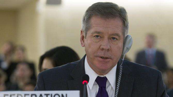 Russia's Deputy Foreign Minister Gennady Gatilov addresses his statement, during the urgent debate on Syria at the 19th session of the Human Rights Council, at the European headquarters of the United Nations in Geneva, Switzerland, Tuesday, Feb. 28, 2012. (AP Photo/Keystone, Salvatore Di Nolfi)