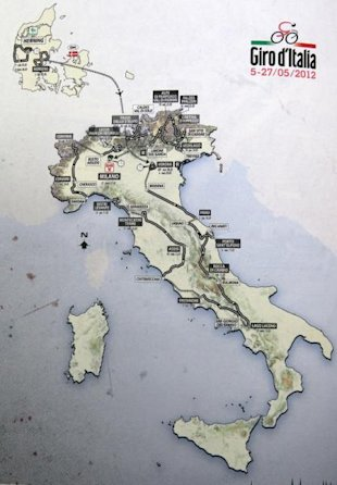 Photo 1 - A Map Showing The Cycling Route For The 2012 Tour Of Italy Cycling Competition, Known As