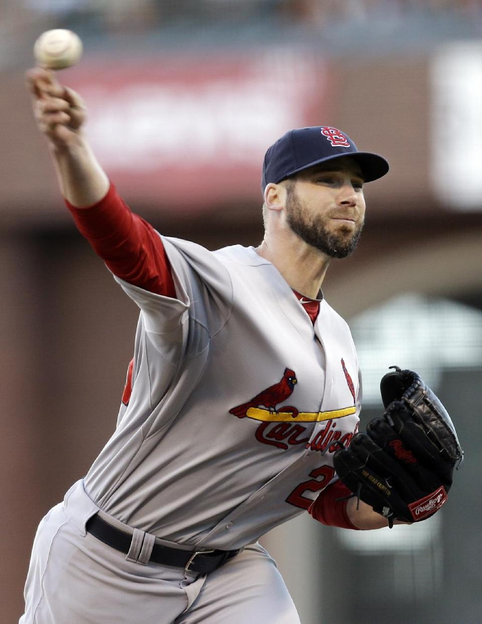 St. Louis Cardinals starting pitcher Chris Carpenter throws during the first inning of Game 6 of baseball's National League championship series against the San Francisco Giants Sunday, Oct. 21, 2012, in San Francisco. (AP Photo/Ben Margot)
