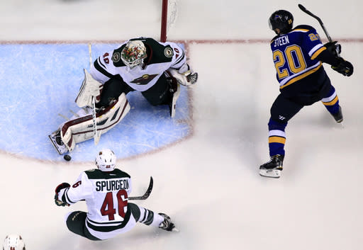 Wild beat Blues 4-1 behind Dubnyk, take 3-2 series lead