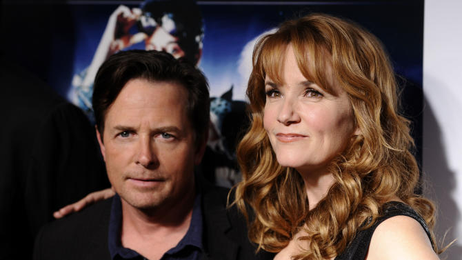 "Actors Michael J. Fox and Lea Thompson attend the ""Back To The Future"" 25th anniversary reunion in New York, on Monday, Oct. 25, 2010. (AP Photo/Peter Kramer)"