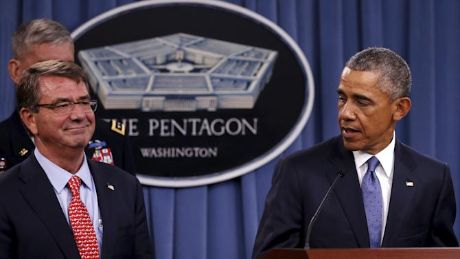 Obama acknowledges Carter in his remarks after a briefing on U.S. efforts against the Islamic State (ISIS), at the Pentagon in Arlington, Virginia