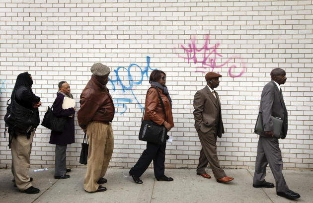 Jobseekers stand in line to attend the Dr. Martin Luther King Jr. career fair held by the New York State department of Labor in New York