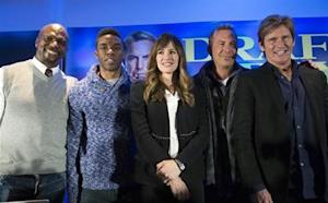 "Cast members Terry Crews, Chadwick Boseman, Jennifer Garner, Kevin Costner and Denis Leary pose at a news conference for the film ""Draft Day"" in New York"