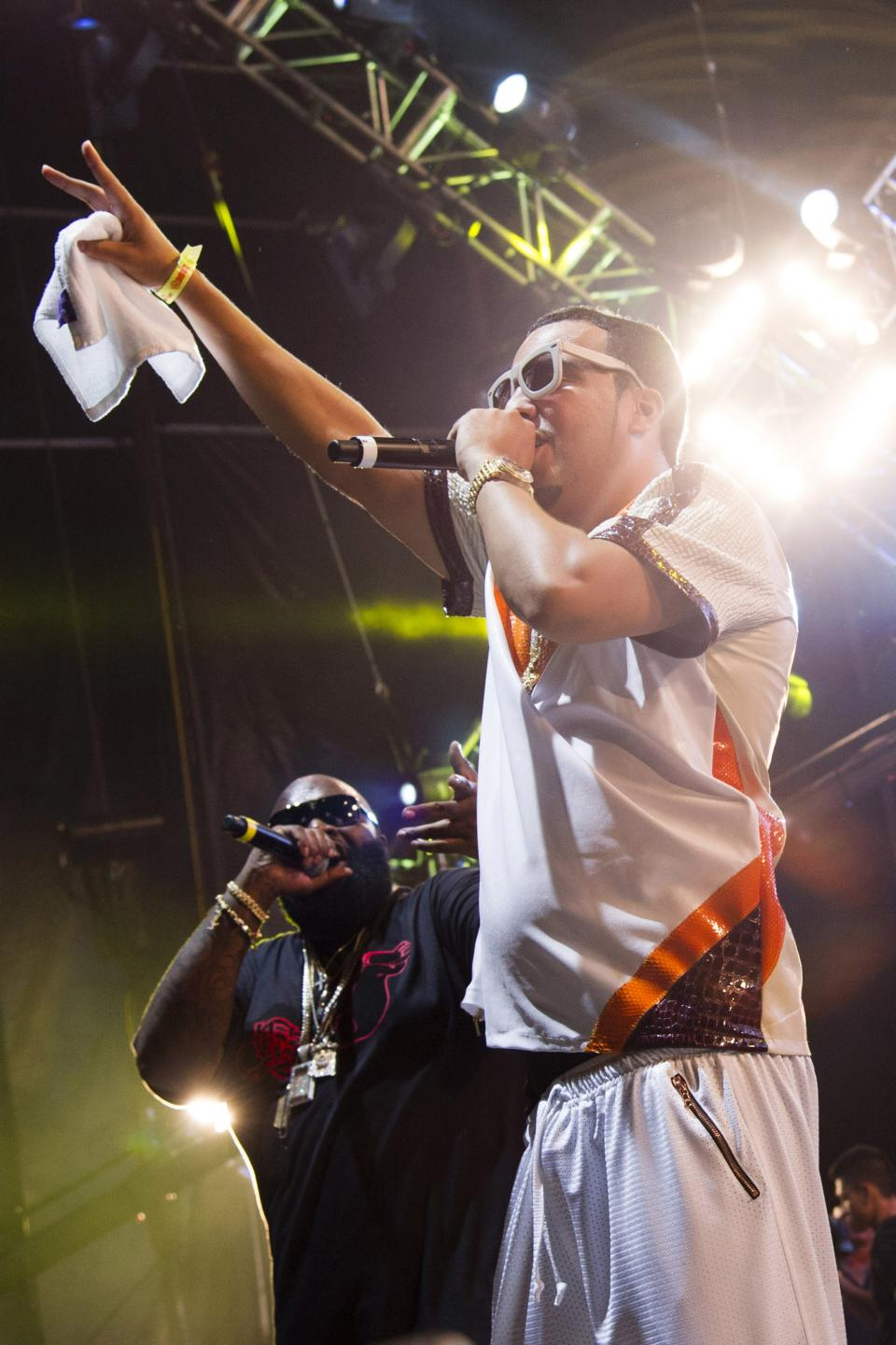 French Montana, right, and Rick Ross perform at the Hot 97 Summer Jam XX on Sunday, June 2, 2013 in East Rutherford, N.J. (Photo by Charles Sykes/Invision/AP)