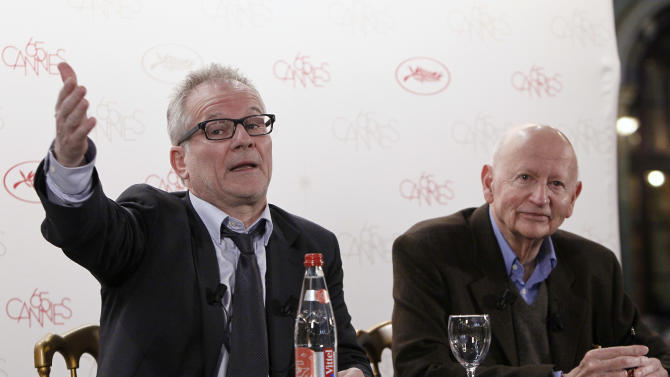 President of the Cannes Film Festival Gilles Jacob, left, and artistic Director Thierry Fremaux, speak during a press conference to announce this years festival line up in Paris, Wednesday April 19, 2012. The festival will run from May 16 to 27, 2012. (AP Photo/Francois Mori)