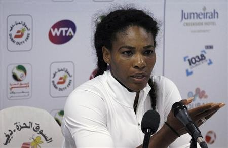 Serena Williams of the U.S. speaks during a news conference at the WTA Dubai Tennis Championships in Dubai