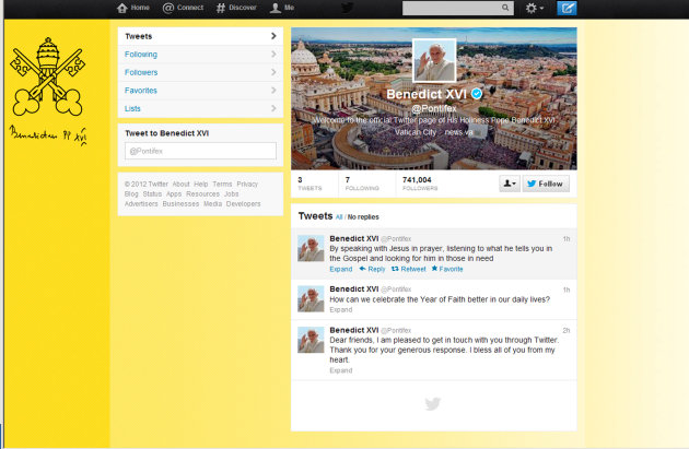 "A screen grab of Pope Benedict XVI Twitter page. Pope Benedict XVI hit the 1 million Twitter follower mark on Wednesday, Dec. 12, 2012 he sent his first tweet from his new account, blessing his online fans and urging them to listen to Christ. In perhaps the most drawn out Twitter launch ever, the 85-year-old Benedict pushed the button on a tablet brought to him at the end of his general audience after the equivalent of a papal drum roll by an announcer who intoned: ""And now the pope will tweet!"". ""Dear friends, I am pleased to get in touch with you through Twitter. Thank you for your generous response. I bless all of you from my heart,"" the inaugural tweet read. (AP Photo/Gregorio Borgia)"