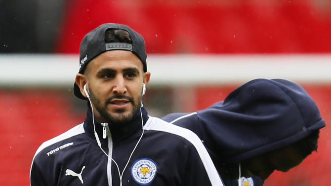 Leicester City's Riyad Mahrez on the pitch before the game