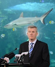 Tony Burke, Australian Environment Minister, speaks to the media at the Sea Life Sydney Aquarium on November 16, 2012. He said Friday that Aboriginal sites in Tasmania's Tarkine rainforest would be included on the National Heritage List, but he would not extend it beyond this