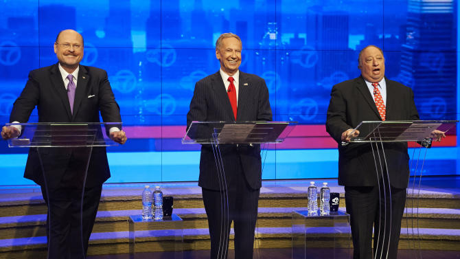 FILE - In this Aug. 9, 2013 file photo, the Republican candidates for the New York City Mayor's office stand on stage at the WABC-TV studios in New York for a televised debate. From left are: Joe Lhota, George McDonald and John Catsimatidis. Despite the fact that the Republicans have won the past five mayoral elections, the GOP contenders are serious underdogs in this year's race for mayor. (AP Photo/New York Daily News, James Keivom, Pool, File)