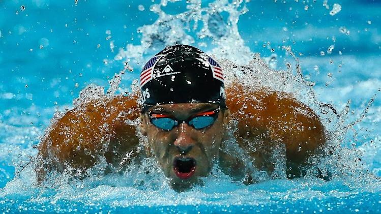 Michael Phelps of the US competes during the men's 200m butterfly final at the Gold Coast Aquatic Centre in Gold Coast on August 23, 2014