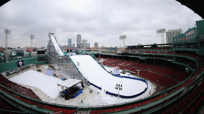 Check Out These Amazing Images Of A 140-Foot Big-Air Snow Ramp In Fenway Park