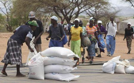 Zimbabweans collect food aid from a distribution point in Mutawatawa