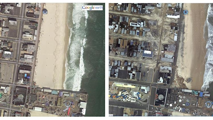 This image, right, taken from the National Oceanic and Atmospheric Association's Hurricane Sandy Response Imagery Viewer shows an aerial view of a section of Seaside Heights, N.J. that was impacted by the deadly storm. At left is the before view provided by Google Earth. NOAA is documenting coastal changes after Superstorm Sandy. (AP Photo/NOAA)