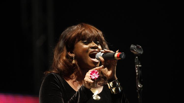 Nigerian singer Waje performs at a musical concert in honour of former South African President Nelson Mandela in Lagos