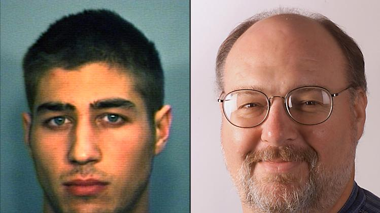 FILE - This combination of undated file photos shows Ryan Ferguson, left, and Kent Heitholt, right. An attorney for a Ferguson, whose conviction in the slaying of Missouri sports editor Kent Heitholt was overturned, has filed a civil rights lawsuit seeking $100 million. (AP Photo/File)