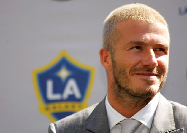 CARSON, CA - JULY 13: David Beckham looks on during his official introduction as a Los Angeles Galaxy player on July 13, 2007 at the Home Depot Center in Carson, California. (Photo by Stephen Dunn/Get