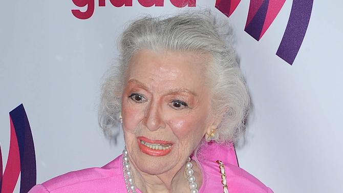 """FILE - This April 10, 2011 file photo shows actress Ann Rutherford at the 22nd Annual Glaad Media Awards in Los Angeles, Calif. Rutherford, who played Scarlett O'Hara's sister Carreen in the 1939 movie classic """"Gone With the Wind,"""" died at her home in Beverly Hills, Calif. on Monday, June 11, 2012.  She was 94. (AP Photo/Katy Winn, file)"""