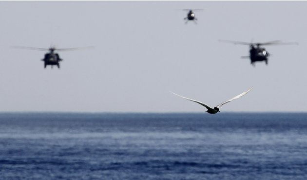 A seagull flies as military helicopters, taking part in Eager Lion military exercise, approach a vessel for a boarding drill in the coastal city of Aqaba