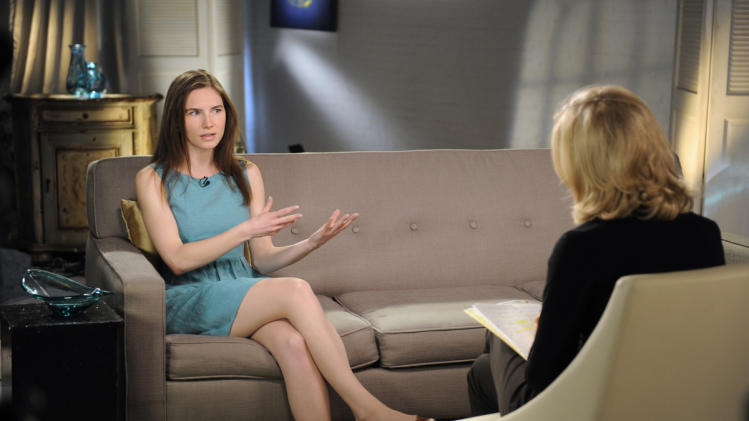 "This April 9, 2013 photo released by ABC shows Amanda Knox, left, speaking during a taped interview with ABC News' Diane Sawyer in New York. Last month, Italy's highest criminal court overturned her acquittal in the 2007 slaying of British student Meredith Kercher and ordered a new trial.  The interview will air on Tuesday, April 30, coinciding with the release of her memoir, ""Waiting to Be Heard.""  (AP Photo/ABC, Ida Mae Astute)"