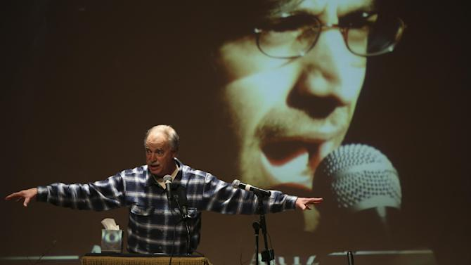 David Isenberg, founder of Freedom to Connect speaks during the memorial service for Aaron Swartz, Saturday, Jan. 19, 2013 in New York. Friends and supporters of Aaron Swartz paid tribute Saturday to the free-information activist and online prodigy, who killed himself last week as he faced trial on hacking charges. (AP Photo/Mary Altaffer)