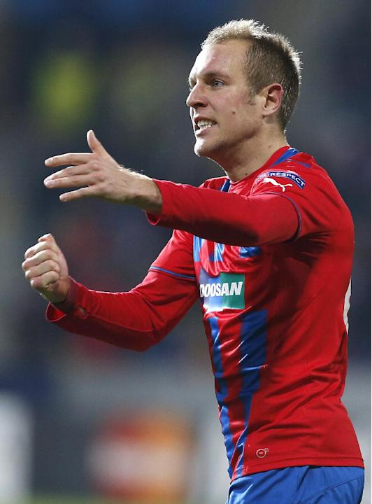Viktoria Pilsen's Daniel Kolar celebrates his side's first goal during the Champions League Group D soccer match between Viktoria Pilsen and CSKA Moscow in Pilsen, Czech Republic, Tuesday, Dec
