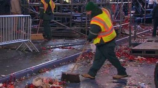 After Ball Drops, Crews Clean Times Square