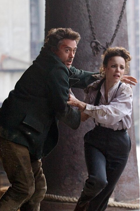 Robert Downey Jr. Rachel McAdams Sherlock Holmes Production Stills Warner Bros. 2009