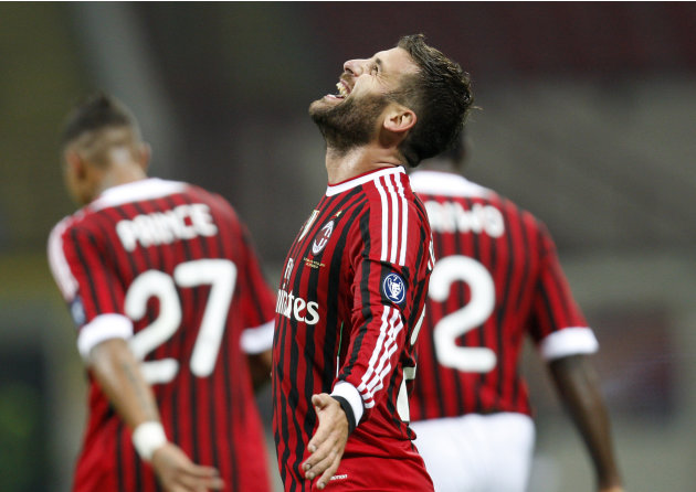AC Milan midfielder Antonio Nocerino celebrates after scoring during a Serie A soccer match between AC Milan and Parma at the San Siro stadium in Milan, Italy, Wednesday, Oct. 26, 2011. (AP Photo/Anto