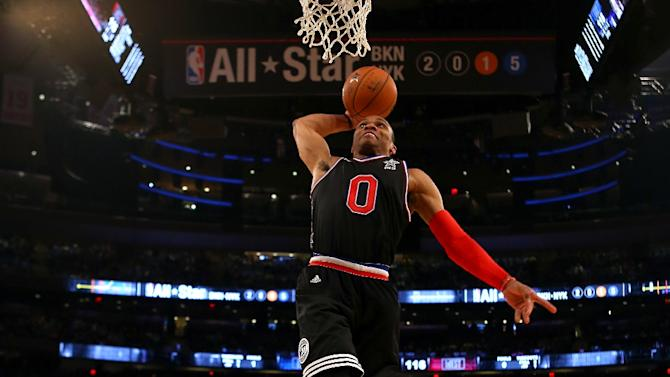 Russell Westbrook of Oklahoma City dunks the ball in the second half during the 2015 NBA All-Star Game at Madison Square Garden on February 15, 2015 in New York City