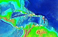 Tsunami source locations in the Caribbean Sea. The symbols indicate the cause of the tsunami: Brown Square is a landslide, Red Triangle is a volcanic eruption, Question Mark is an unknown cause, and White Circle is an earthquake and the size of