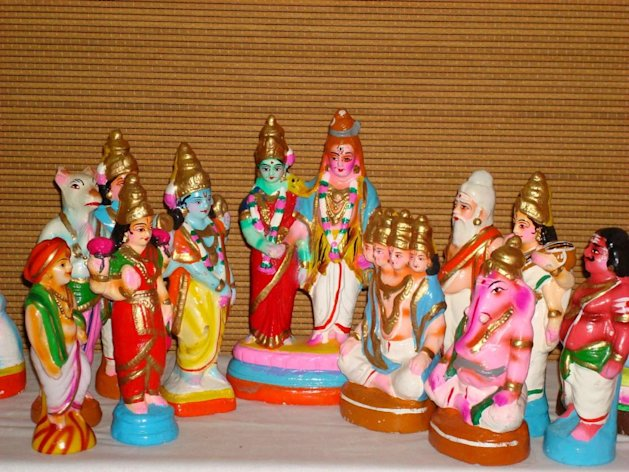 A tableau of dolls arranged for Golu