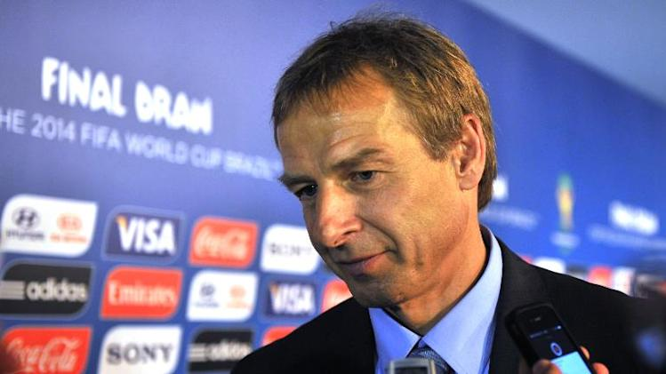The coach of the US, German Jurgen Klinsmann, speaks to the press after the Brazil 2014 FIFA World Cup groups-stage draw, in Costa do Sauipe, Bahia state, Brazil, on December 6, 2013