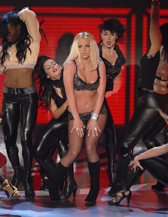 "Singer Britney Spears performs ""Gimme More"" onstage at the 2007 Video Music Awards at the Palms Casino Resort."