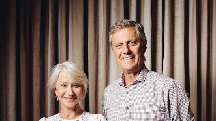 "In this Saturday, July 12, 2014 photo, Helen Mirren, left, and Lasse Hallstrom pose for a portrait during press day for ""The Hundred-Foot Journey"" at The Four Seasons in Los Angeles. Mirren couldn't say no to ""The Hundred-Foot Journey,"" in the picturesque setting in south of France. ""It was one of those absolutely blessed experiences,"" Mirren said - the kind that make her question a film's quality. But she quashed that fear quickly: ""We had Lasse, and Lasse was our secret weapon.""  (Photo by Casey Curry/Invision/AP)"