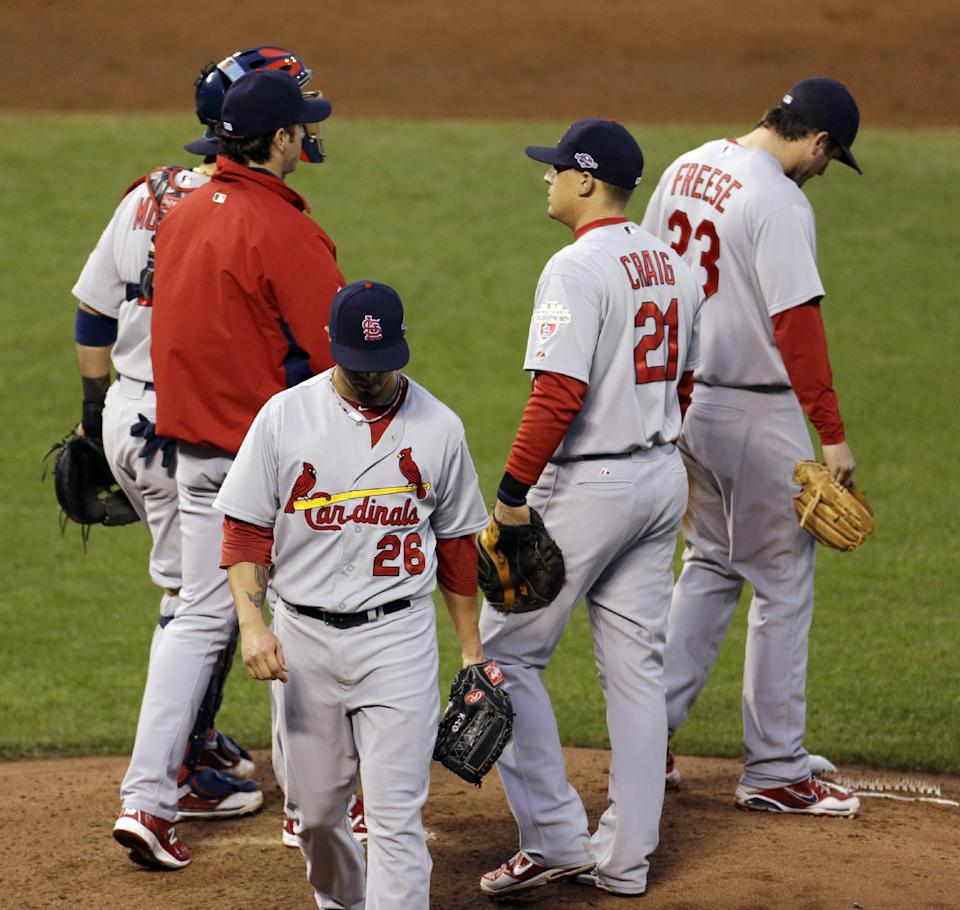 St. Louis Cardinals starting pitcher Kyle Lohse is taken out of the game during the third inning of Game 7 of baseball's National League championship series against the San Francisco Giants Monday, Oct. 22, 2012, in San Francisco. (AP Photo/Eric Risberg)