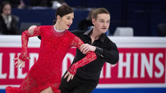 Estonia's Shtork and Rand perform during the pairs short dance program at the ISU European Figure Skating Championships in Stockholm