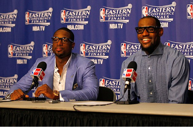 Dwyane Wade #3 And LeBron James #6 Of The Miami Heat Speak With The Media  Getty Images