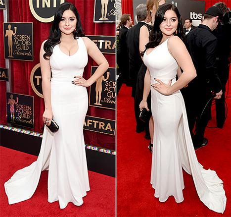 Ariel Winter, 16, Models Her Bombshell Curves in Plunging White Dress at 2015 SAG Awards: See the Red Carpet Photos!