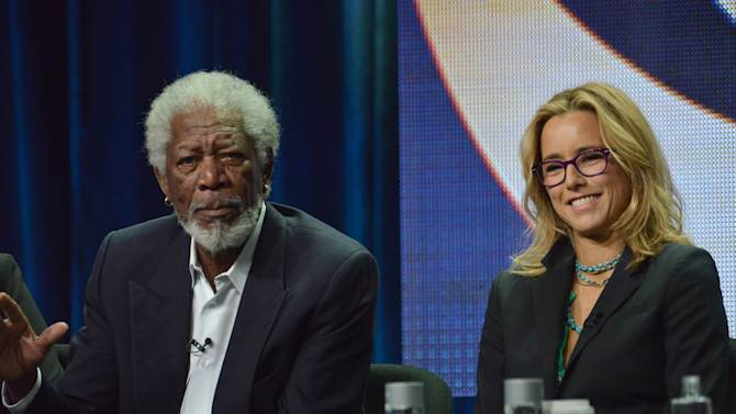 """Executive Producer Morgan Freeman, left, and Tea Leoni speak on stage during the """"Madam Secretary"""" panel at the CBS 2014 Summer TCA held at the Beverly Hilton Hotel on Thursday, July 17, 2014, in Beverly Hills, Calif. (Photo by Richard Shotwell/Invision/AP)"""