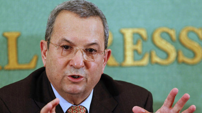 FILE - In this Feb. 18, 2012 file photo, Israeli Defense Minister Ehud Barak speaks during a press conference in Tokyo, Japan. in an interview published Monday, Sept. 24, 2012 Barak called for a unilateral pullout from most of the West Bank if peace efforts with the Palestinians remain stalled.(AP Photo/Koji Sasahara, File)