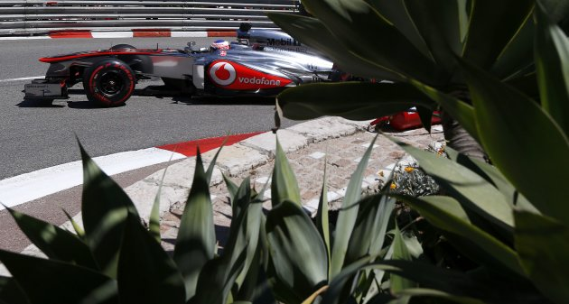 McLaren Formula One driver Jenson Button of Britain drives during the second practice session of the Monaco F1 Grand Prix