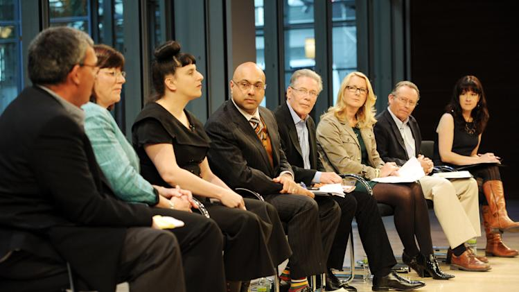 From left, Blake Hurst, Debbie Beauvais, Kat Kinsman, Ali Velshi, Craig McNamara, Carolyn O'Neil, Richard Ball, Tracie McMilllan attend the Food Dialogues: New York on Thursday, Nov. 15, 2012 in New York. (Photo by Evan Agostini/Invision for USFRA/AP Images)