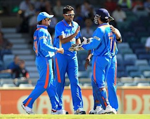 Ashwincelebrates with teammates after taking the wicket of Dinesh Chandimal during the ODI between India and Sri Lanka at WACA on February 8, 2012 in Perth, Australia. (Getty Images)